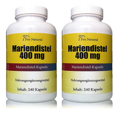 2 x Pro Natural Mariendistel 400mg (320mg Silymarin) Leberschutz 480 Kapseln