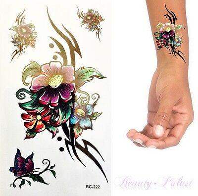 Einmal Tattoo Blume Bunt - Temporary Tattoo Aufkleber Temporäre Tattoos RC222