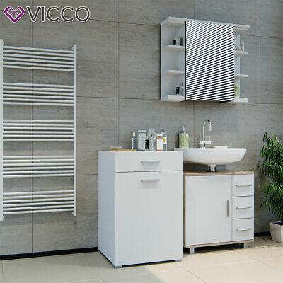 Vicco Armoire A Linge Matteo Avec Compartiments Meuble De Salle De Bain Blanc Ebay