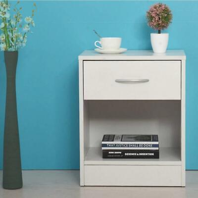 2 PCS Wood End Side Bedside Table Nightstand Bedroom w/Drawer 2