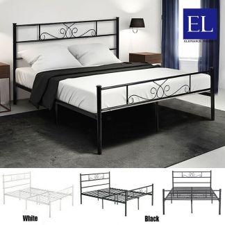 Full Queen Size Platform Metal Bed Frame Mattress Foundation Headboard Footboard