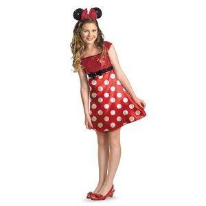 Girls Minnie Mouse Costume Fancy Dress Headband Red Disney Teen Tween Child Kids