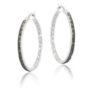 Black Diamond Accent 30mm Round Hoop Earrings