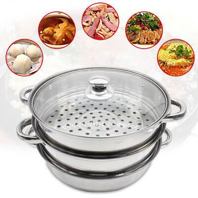 28cm Silver 3 Tier Stainless Steamer Cooker Cookware Steam Pot Set W/ Glass Lid