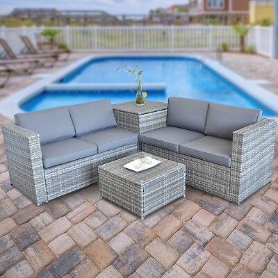 Lounge Rattan Lounge + Tisch und Kissenbox in Grau Garten Sofa Gartenmöbel