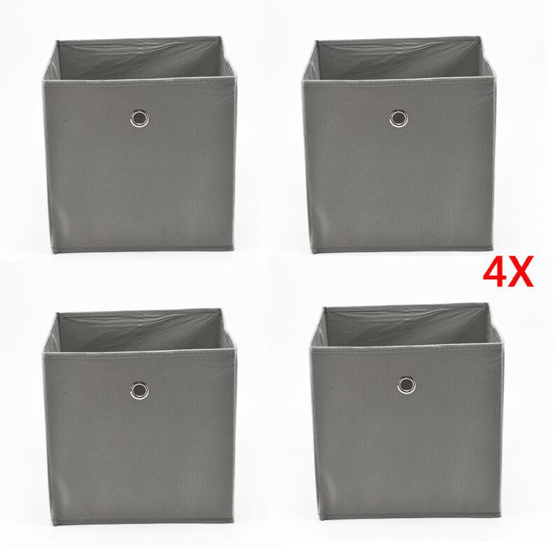 4er Set Faltbox in lichtgrau 32 x 32 cm Faltkiste Regalkorb Regalbox Kinderbox