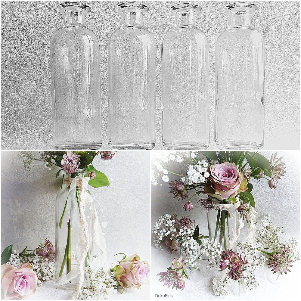 12 x Dekoflaschen Vase Glasflaschen 16cm Glasfläschchen Tischvasen Vasen Väschen