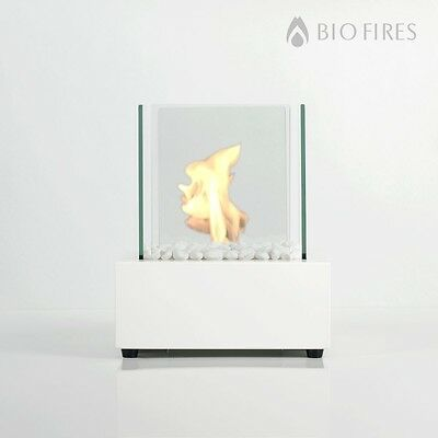Bio Fires - Bio Ethanol Tabletop Burner Fireplace Glass Cube White Bioethanol