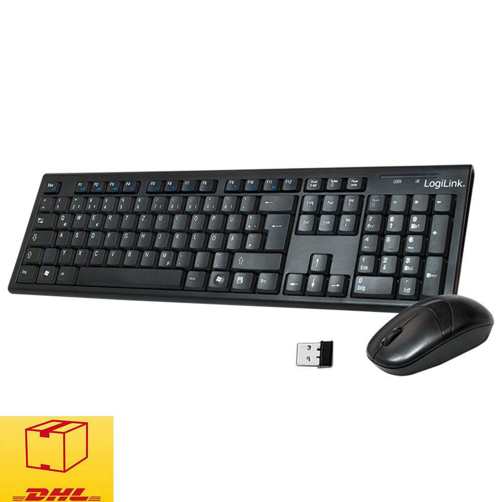 LogiLink ID0104 Wireless Tastatur mit Maus Funk Kabellos Keyboard DE Layout Blak