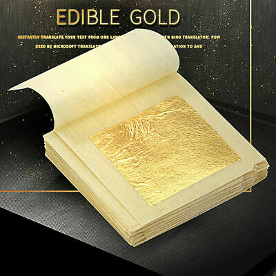 "10 Sheets 1.7"" 24K Gold Foil Leaf 100% Food Anti-Aging Facial Spa Craft Gilding"