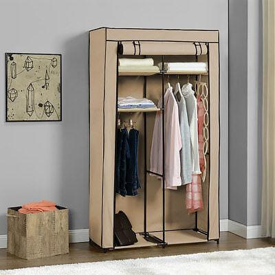 NEU.HOLZ® Kleiderschrank 162x90cm Beige Stoff Falt Schrank Wohnzimmer Garderobe