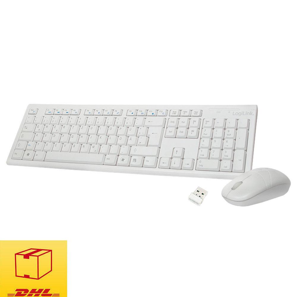 LogiLink ID0104W Wireless Tastatur mit Maus Funk Kabellos Keyboard Deutsch Weiß