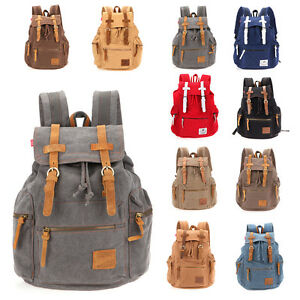 32L Multi-Color Vintage Canvas Camping Travel Sport Shoulder Bag Backpack