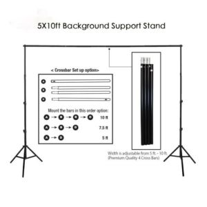 10Ft Heavy Duty Adjustable Photography Background Support Stand Kit With Case