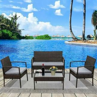 Patio Wicker Furniture Outdoor 4PCs Rattan Sofa Garden Conversation Set