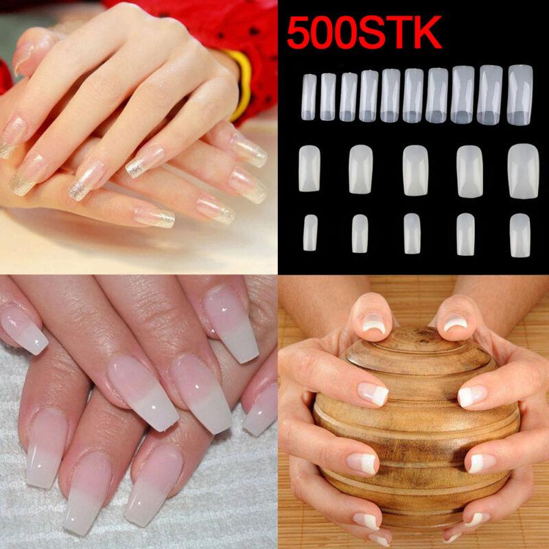 500X Natur Nagel Tips Nagelspitzen Kunstnägel Künstliche Fingernägel Nageltips