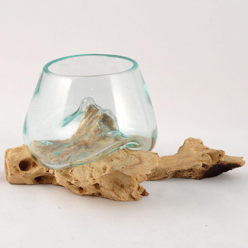 Wurzel mit Glas, Ø ca. 12 cm, kleine Kugelvase Glasvase auf Holz Glas Deko Ideen
