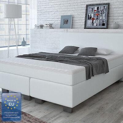 Design Boxspringbett 160x200cm Polsterbett Hotelbett Kunstleder Doppelbett Weiß