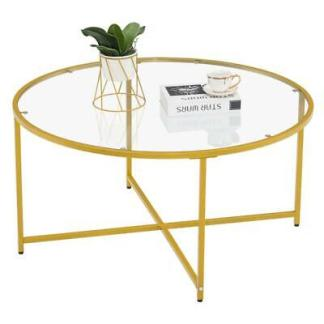 """35"""" Golden 2 Layers Tempered Glass Countertop Round Cross Foot Iron Coffee Table"""