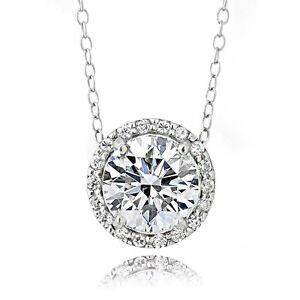 Platinum Plated Sterling Silver 2ct Cubic Zirconia Halo Necklace