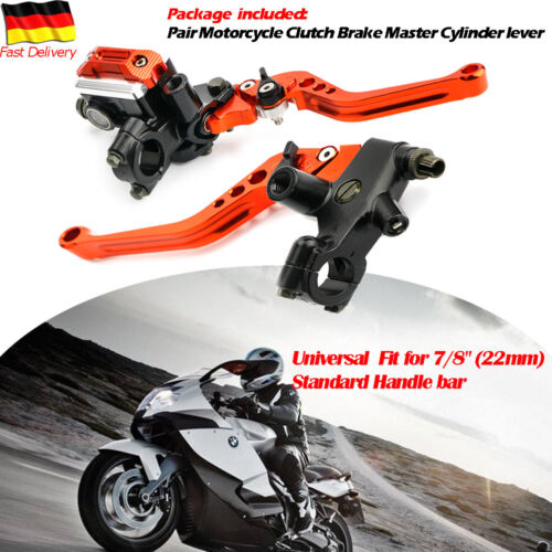 22mm Motorrad Bremshebel Kupplungshebel Set Behälter Orange Alu Universal 2tlg.