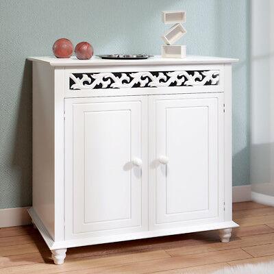 DEUBA® Sideboard Kommode Jersey Mehrzweck Schrank Flur Vintage Antik weiß