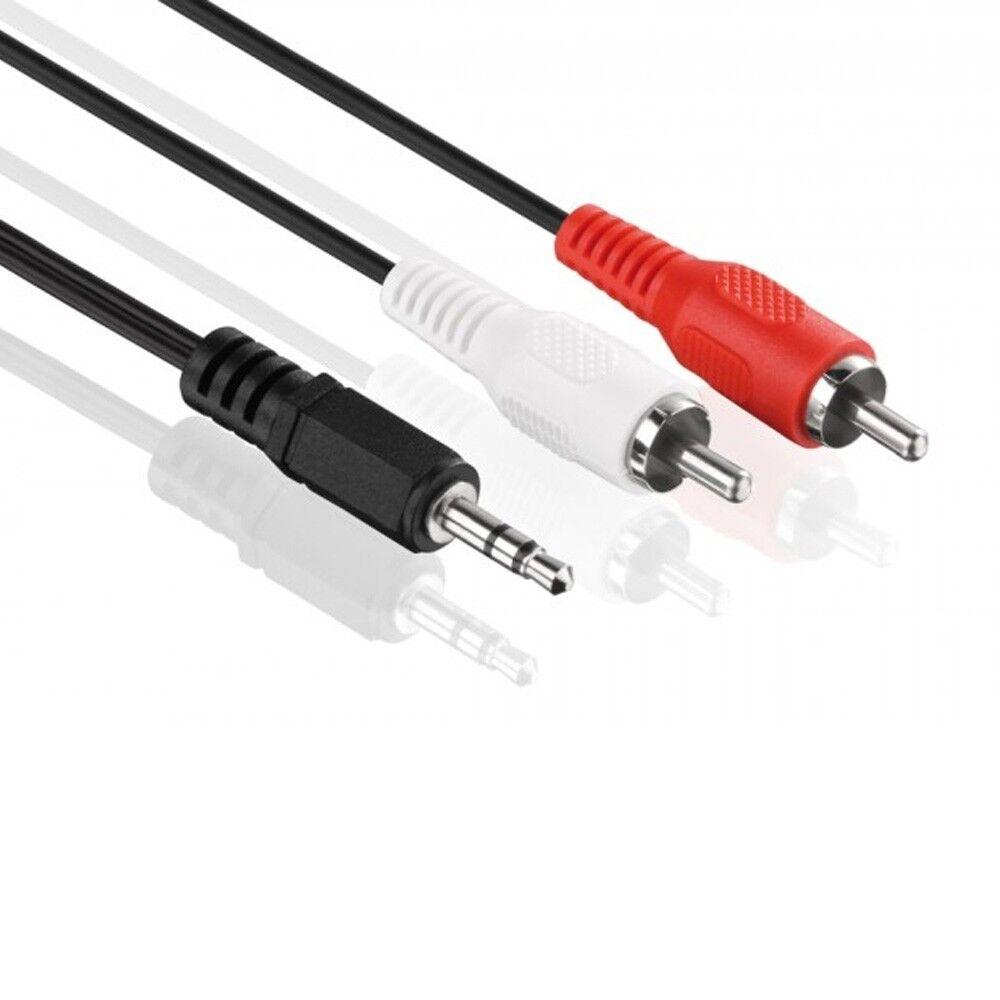 Audio Kabel - 3,5mm Klinke auf 2x Cinch - RCA zu Jack, Chinch zu AUX Klinke 0,5m