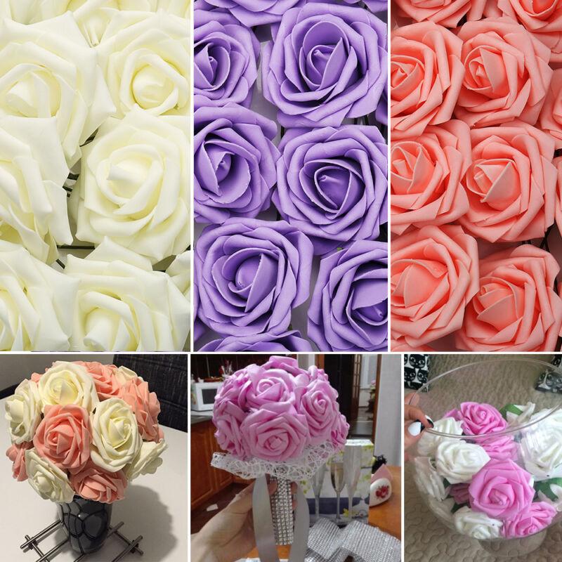 100x Künstliche Rose Blume Rosenköpfe Kunstblumen Blumenstrauß Hochzeit Deko DE