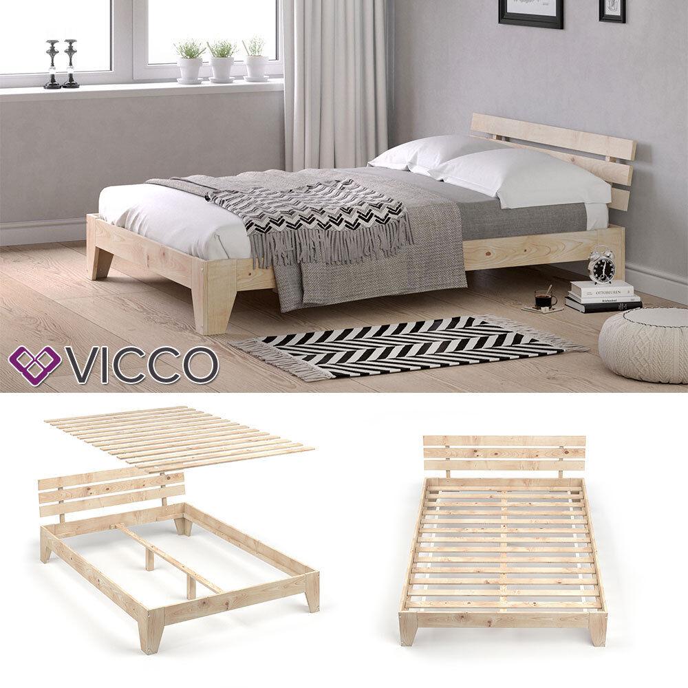 VICCO Holzbett Korfu Futonbett 140x200cm Kiefer Doppelbett Bett Massivholz Lack