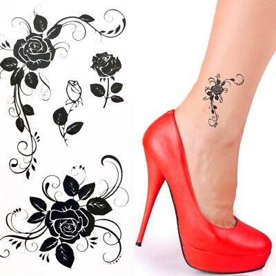 Einmal Tattoo Blume Temporary Tattoo Rose Aufkleber Temporäre Tattoos Schwarz