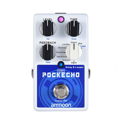 ammoon POCKECHO Delay & Looper Guitar Effect Pedal 8 Delay Effects Max. B9S9