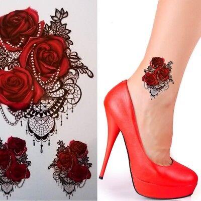 Einmaltattoo Blume - Temporary Tattoo Aufkleber Blumen Temporär Tattoo Rot 379