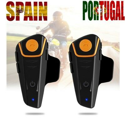 2pcs BT-S2 1000m Bluetooth Moto Casco Intercomunicador impermeable Interphone ES