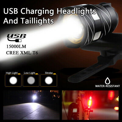USB Wiederaufladbare Fahrradlampe LED Fahrrad Licht Beleuchtung Scheinwerfer DE