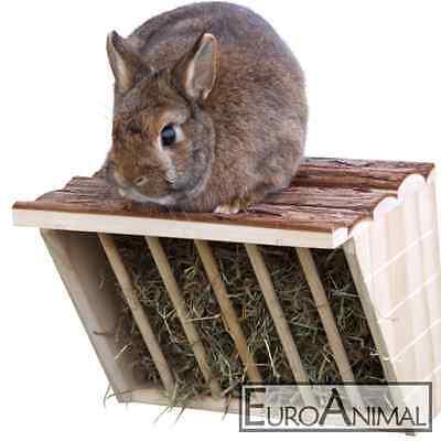 XL Heuraufe mit Sitzbrett Nager Kaninchen Meerschweinchen 28 x 20,5 x 22 cm