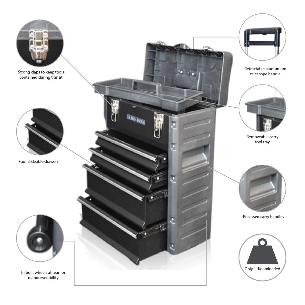US PRO Tools Roller Mobile Rolling Wheels Trolley Cart Storage Cabinet Tool Box EBay