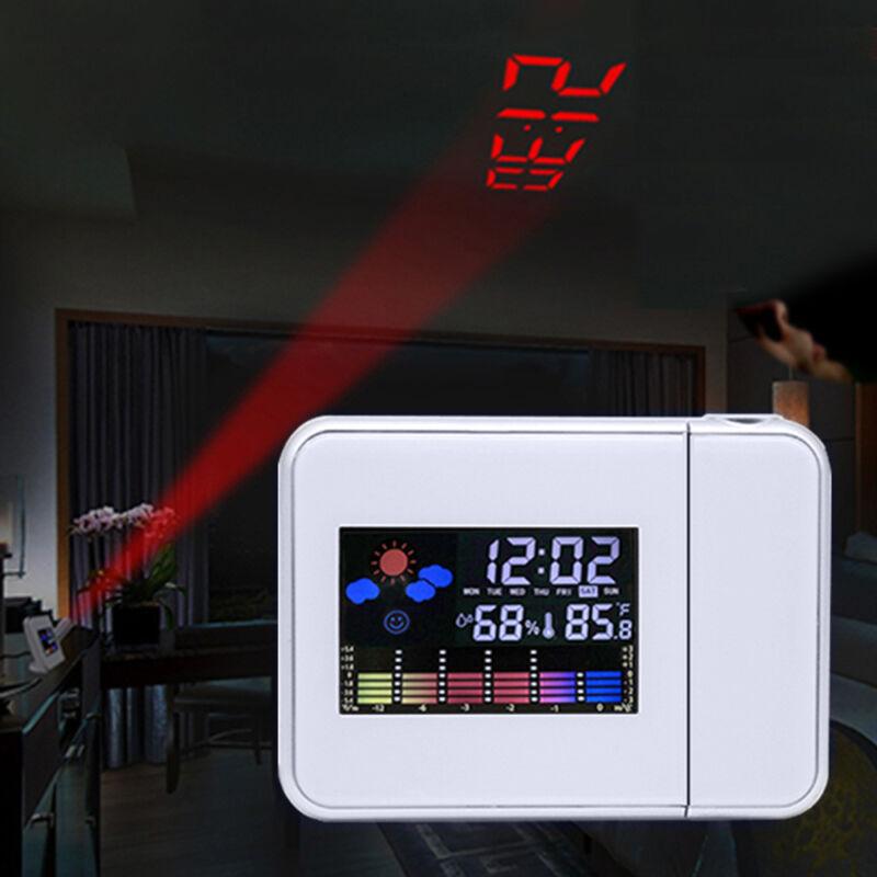 LCD wecker mit Projektion Snooze, Datum,Temperaturanzeige Alarm Tischuhr Weiß