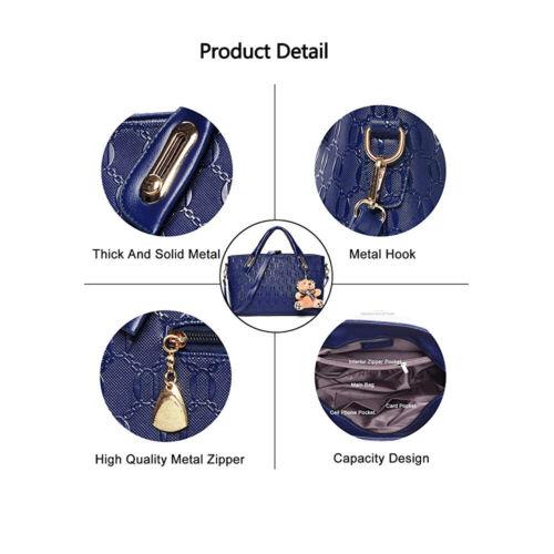 5Pcs/Set Women Lady Leather Handbags Messenger Shoulder Bags Tote Satchel Purse 2