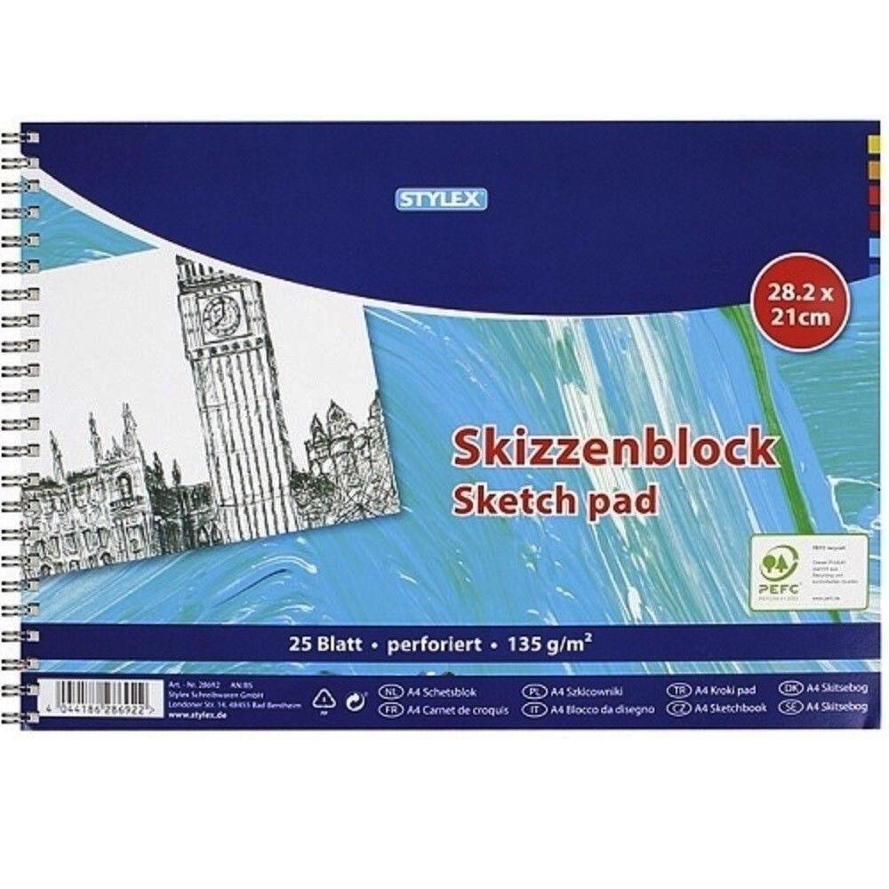 Skizzenblock A4, 135 g/m² Papier, perforiert, 25 Blatt, Zeichenpapier, Malblock