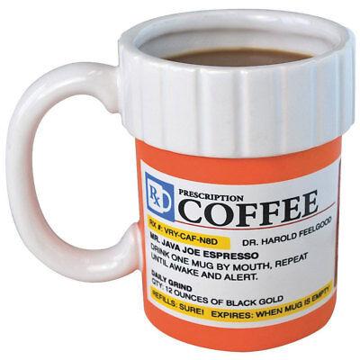 Prescription Mug Pill Bottle Coffee Cup Tea Pharmacy 12oz Rx Big Mouth Toys Gift