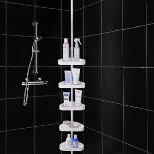 5 Shelf Shower Corner Tension Pole Caddy Organizer Bathroom Bath Storage Rack