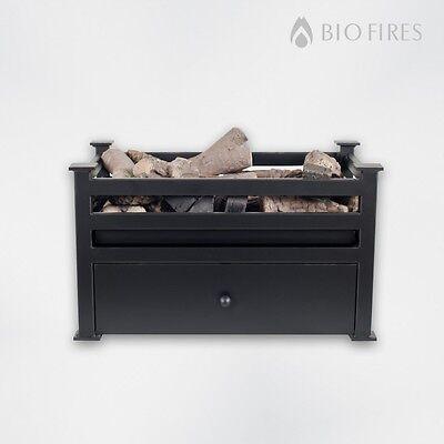 Bio Fires - Free Standing Black Satin Bio Ethanol Fire Grate Bioethanol Fuel