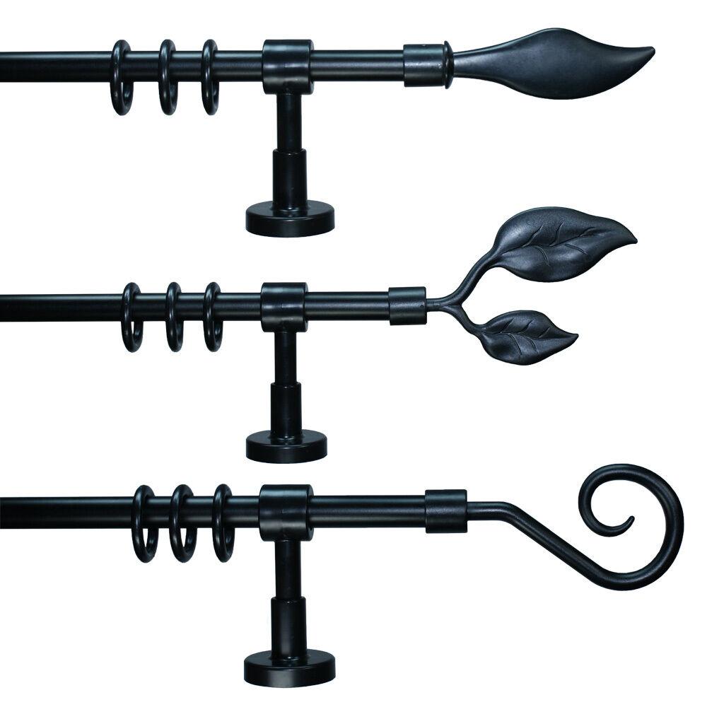 moderne Gardinenstange Schwarz 16 mm Durchmesser aus Metall/Kunststoff,