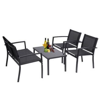 4-Piece Patio Furniture Set Outdoor Garden Lawn Chairs with Glass Coffee Table