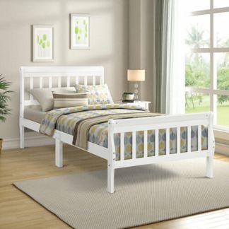 Twin Extra Long Wood Platform Bed Frame w/Headboard Footboard Wood Slat White
