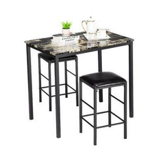 3 Piece Marble Dining Table Set 2 Leather Chairs Kitchen Breakfast Furniture NEW