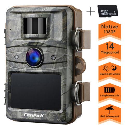 Wildkamera Fotofalle FHD 1080P Überwachnungskamera dörr 14MP IR Nachtsicht +32GB