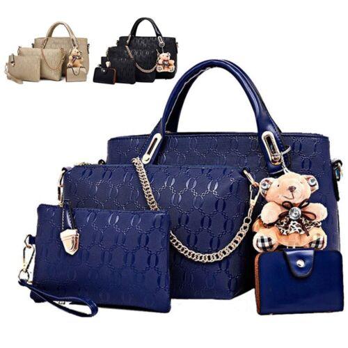 5Pcs/Set Women Lady Leather Handbags Messenger Shoulder Bags Tote Satchel Purse
