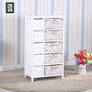 Bedroom Storage Dresser Chest 5 Drawers W Wicker Baskets Cabinet Wood Furniture