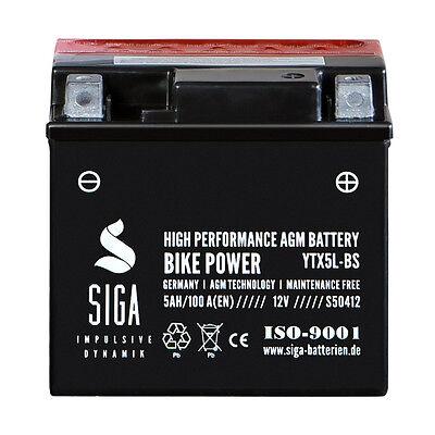 SIGA 5Ah 12V AGM Motorrad Batterie YTX5L-BS Startkraft 100A/EN Motorradbatterie